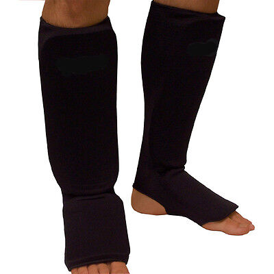 Black Cloth Shin-In-Step Guards for kickboxing muay thai MMA karate shin pads