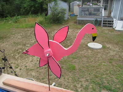 "Wood Pink Flamingo Whirligig/windspinner New Style Handmade/painted 12"" Stake 28"