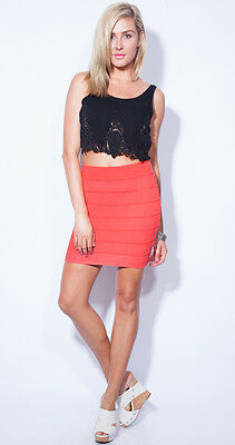 Wholesale Stretchy Knitted Bandage A Shape Skirt for cheap price