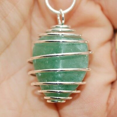 """South African Green Aventurine Crystal Perfect Pendant™ 20"""" Silver Chain"""