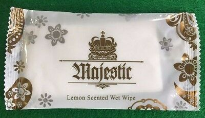 Wet Hand Wipes Lemon scented fresh Towels  Individually Wrapped By Majestic
