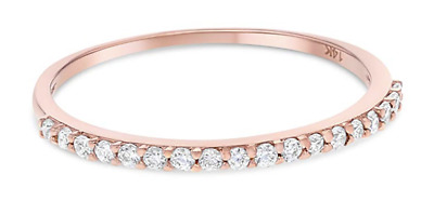 0.45 Ct Round Cut Real 14k Rose Gold Engagement Wedding Anniversary Band Ring