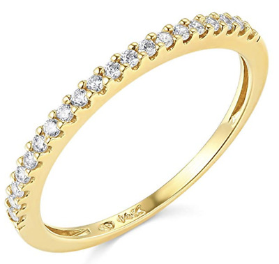 0.45 Ct Round Cut Real 14k Yellow Gold Engagement Wedding Anniversary Band Ring