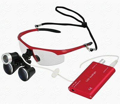 Dental Surgical Binocular Loupes Magnifier 3.5X + LED Headlight Red UK STOCK