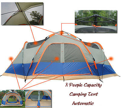 Outdoor Waterproof Hiking Camping Tent 8 People Capacity Family Vacation Camping