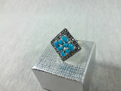 ancient style Hand crafted ring 925 Sterling Silver with turquoise size 6 #P01