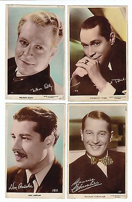4  PHOTO Postcards  EDDY,  TONE,  CHEVALIER,  AMECHE