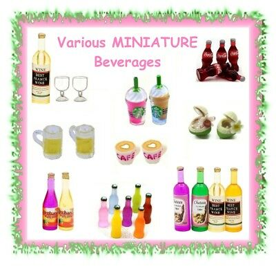 Miniature beverages / drinks -CHOOSE STYLE- dollhouse wine beer coke coffee