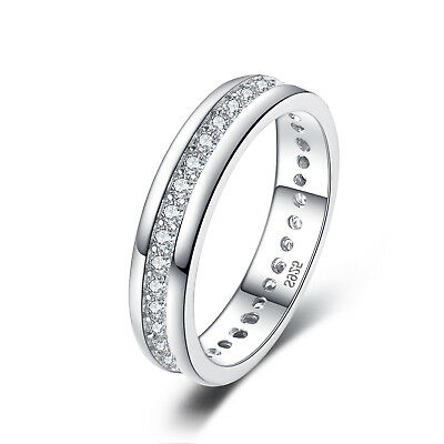 JewelryPalaceWomen's Wedding Band Ring Cubic Zirconia Solid 925 Sterling Silver