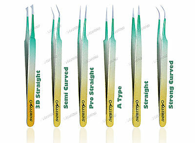 Alluring Alluring Ombre TriColor Gold Silver & Green Tweezer Eyelash Extensions