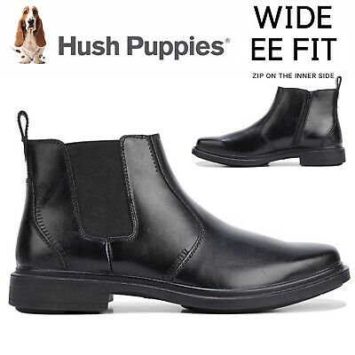 HUSH PUPPIES DEACON Leather Boots Shoes Slip On Extra Wide Work Comfort New