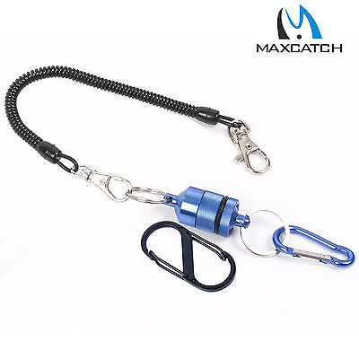 Landing Net Magnetic Release Holder with Carabiner Telescopic Cord 5.5LB Blue