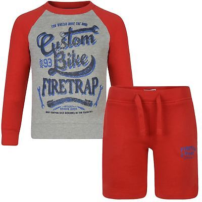 Kids Firetrap Print Jumper or Shorts Boys Girls Top Bottoms Outfit Set 2-13 Y