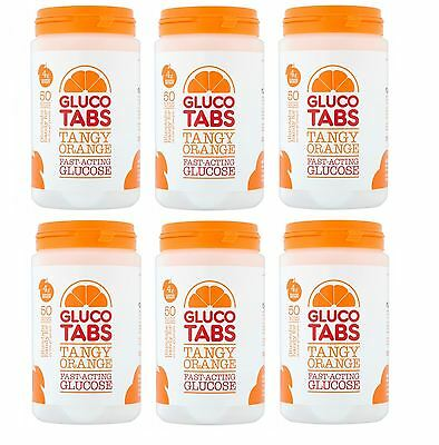 Glucotabs Orange 50 Glucose Tablets 200g Gluco Tabs - 6 Pack