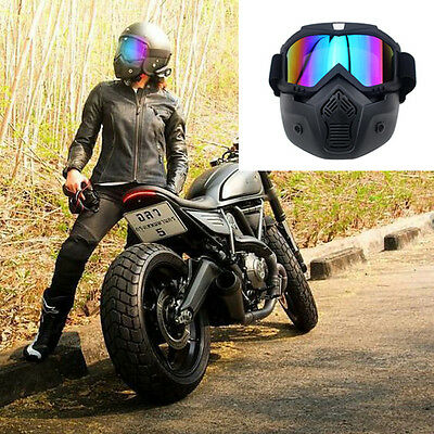 Motorcycle Paintball Half Face Detachable Goggles Helmet Glasses Mask Wear