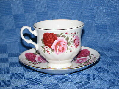 Queen Anne Bone China Tea Cup and Saucer Duo. Made in England