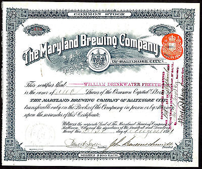 Maryland Brewing Co. of Baltimore City, $100 shares common stock, 1899