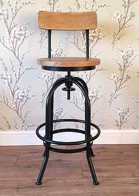 Rustic Industrial bar stool wooden top  shabby vintage chic kitchen seat Black