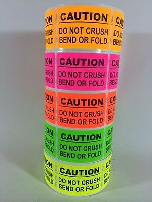 100 2x3 CAUTION Sticker LABEL NEON +(10 SMILEY THANK YOU)  DO NOT BEND FRAGILE