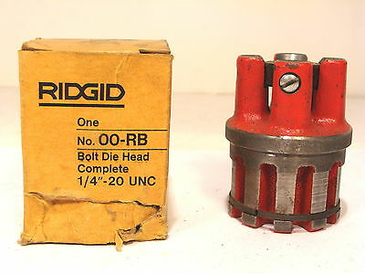"Nos Ridgid Usa 1/4"" - 20 Unc Complete Bolt Die Head #00-Rb"