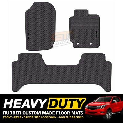 Custom Heavy Duty Rubber Floor Mats Mazda BT-50 Dual Cab GT XTR 10/2011-19 Black