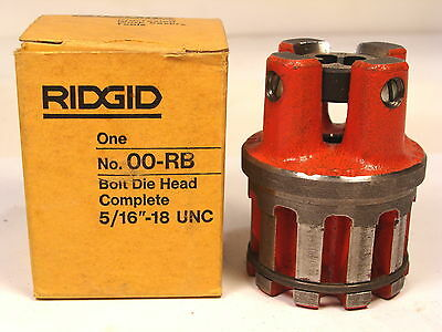 "Nos Ridgid Usa 5/16"" - 18 Unc Complete Bolt Die Head #00-Rb"