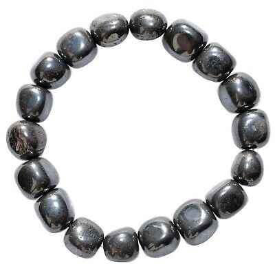 CHARGED Hematite Crystal Bracelet Tumble Polished Stretchy ENERGY REIKI WOW!!!