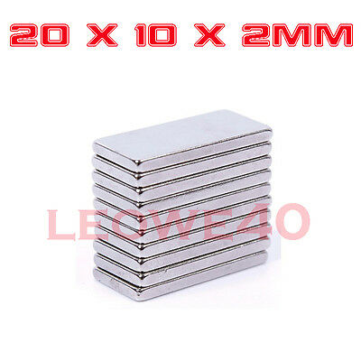 Rectangular Block Magnet 20mm x 10mm x 2mm Rare Earth Neodymium No. 750