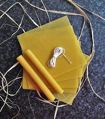 8 pcs Natural Beeswax Sheets +  Wick - ROLLED CANDLE KITS