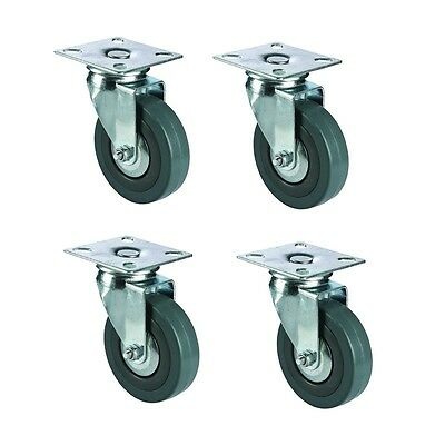 "Set of 4 pcs 100mm /3.95"" Industrial Heavy Duty Swivel Hard Rubber Caster Wheels"