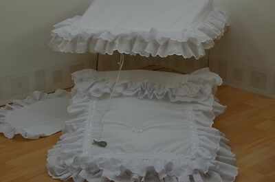 White Pram Sun Canopy And Pram Set To Fit Silver Cross And Coach Built  Prams