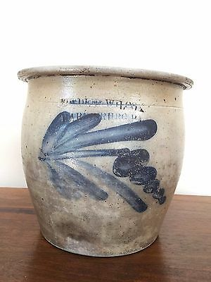 Antique 19th Century Stoneware COWDEN & WILCOX Harrisburg Floral CREAM JAR CROCK