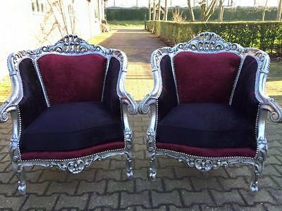 Set Of Two Amazing Chairs Made In Baroque Style, Italian Design