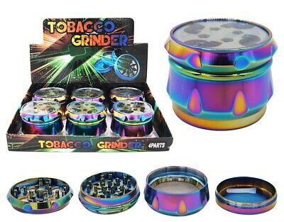 "6 PACK 2.2"" 55 mm 4 Piece Grinder Herb Spice Crusher Rainbow Color 16855RB"