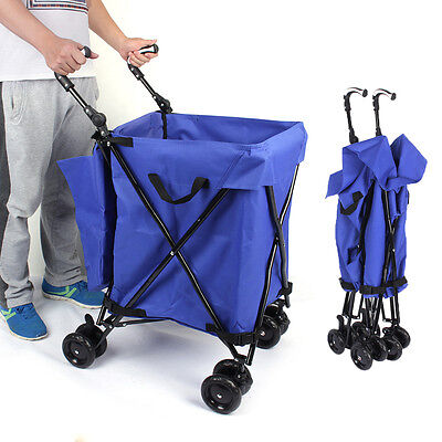 Folding Utility Cart With Wheels and Bag Laundry Grocery Shopping Clothes Hamper