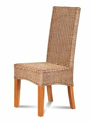 Rattan/wicker Dining Chair Natural Rattan Weave Solid Light Mahogany Wood Frame