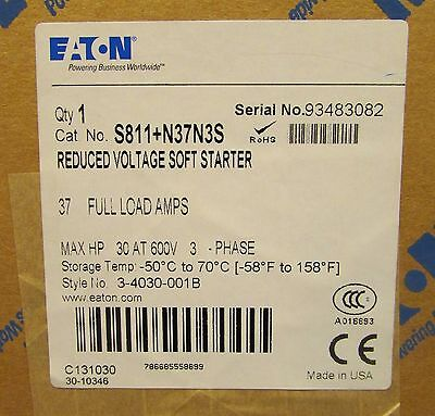 EATON CUTLER HAMMER S811+N37N3S 37 Amp 30 HP Reduced Voltage Soft Starter