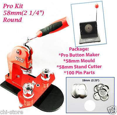 """(KIT)Round 58mm(2 1/4"""") New Pro Button Maker-S1+ Mould+ Stand Cutter+100PinParts"""