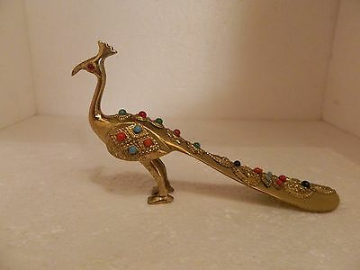 Vintage Brass Peacock Shoehorn Polished Stones Jeweled eyes