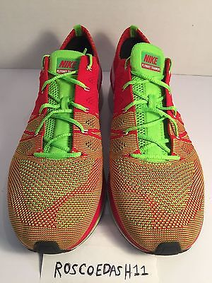 214ccc1f06bc Nike Flyknit Trainer+University Red Electric Green Mens Shoes 532984-631  Size 13