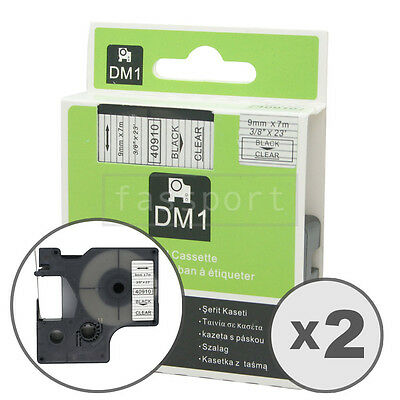 2pk Black on Clear Tape Label Compatible for DYMO 40910 D1 9mm 3/8""