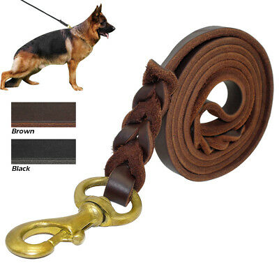 Didog Best Braided Leather Dog Leash K9 Dog Training Leads with Free Clicker