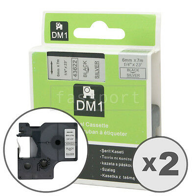 2pk Black on Silver Tape Label Compatible for DYMO 43622 D1 6mm 1/4""