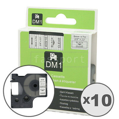 10pk Black on Clear Tape Label Compatible for DYMO 40910 D1 9mm 3/8""