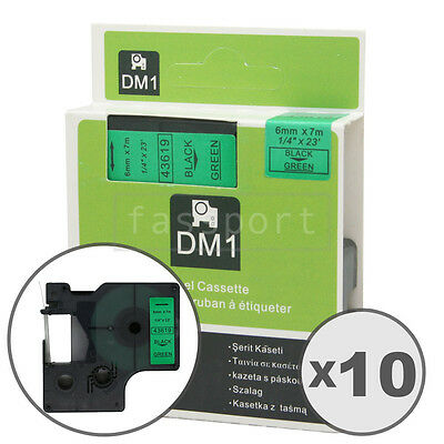 """10pk Black on Green Tape Label Compatible for DYMO 43619 D1 6mm 1/4"""""""