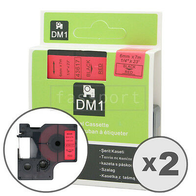 2pk Black on Red Tape Label Compatible for DYMO 43617 D1 6mm 1/4""