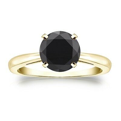 4 Ct Round Black Real 14K Yellow Gold Solitaire Engagement Wedding Promise Ring