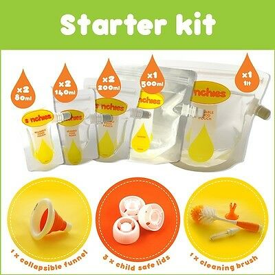 Sinchies Starter Kit Reusable Food Pouches includes Lids, Funnel and Brush