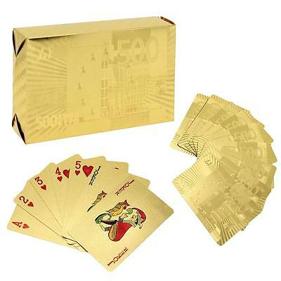 Flexible Waterproof Gold Foil Plated Cover Poker 54 Playing Cards Table Games