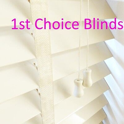 CREAM 50mm Slat Wooden Venetian Blind with Tapes Made to Measure Wood Blinds